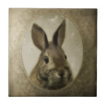 """Bunny Love Ceramic Tile<br><div class=""""desc"""">Woodland bunny portrait tile would fit well in a nature inspired themed room.</div>"""