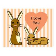 Bunny Love - Cute Rabbits Postcards