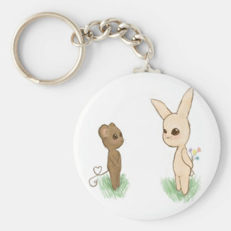 Bunny Love Basic Round Button Keychain