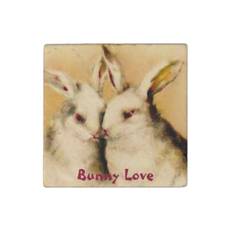 Bunny Love ~  Marble Magnet Stone Magnet