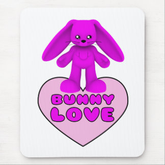 Bunny Love Pink Rabbit Cute Mouse Pad