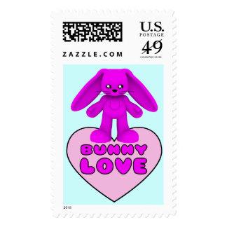Bunny Love Pink Rabbit Cute Postage Stamp