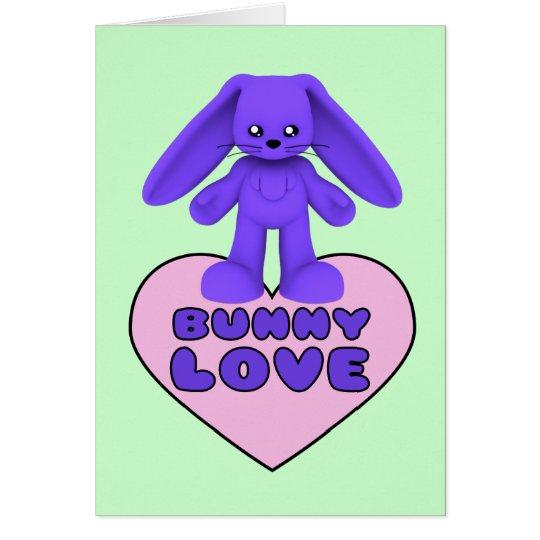 Bunny Love Purple Rabbit Cute Card