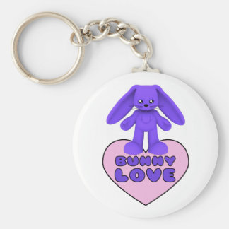 Bunny Love Purple Rabbit Cute Keychain