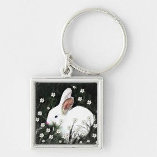 Bunny Love Silver-Colored Square Keychain
