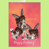 Bunny Love Triplets Birthday Card
