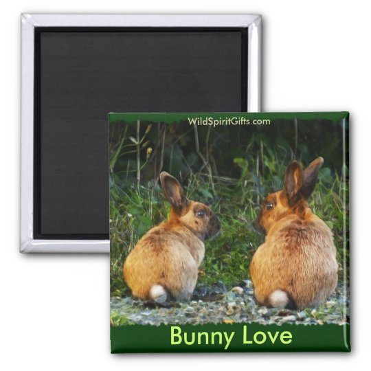 BUNNY LOVE Wild Rabbit Collection 2 Inch Square Magnet