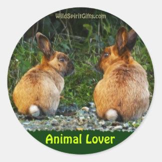 BUNNY LOVE Wild Rabbit Collection Classic Round Sticker