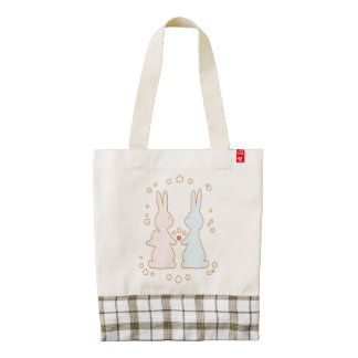 Bunny Love with Flowers Zazzle HEART Tote Bag