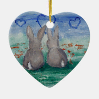 Bunny Lovin' aceo Double-Sided Heart Ceramic Christmas Ornament