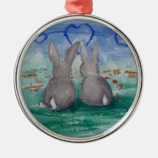 Bunny Lovin' aceo Metal Ornament