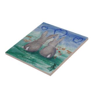 Bunny Lovin' aceo Small Square Tile