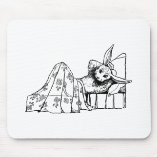 Bunny Lying in Bed Mouse Pad