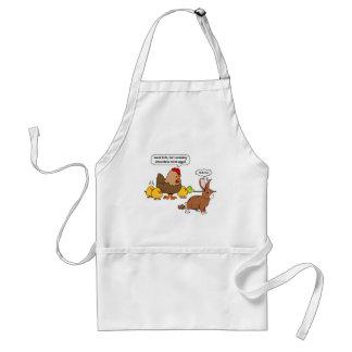 Bunny makes chocolate poop funny cartoon adult apron