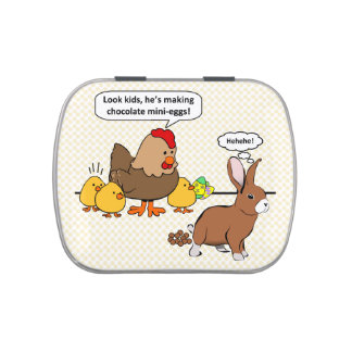 Bunny makes chocolate poop funny cartoon candy tin