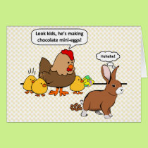 Bunny makes chocolate poop funny cartoon card