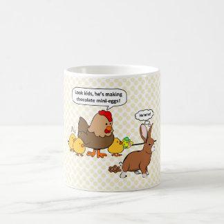 Bunny makes chocolate poop funny cartoon coffee mug