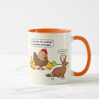 Bunny makes chocolate poop funny cartoon mug