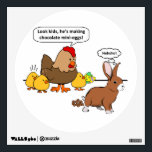 """Bunny makes chocolate poop funny cartoon wall sticker<br><div class=""""desc"""">A Hen and her Chicks &quot;Look kids,  he&#39;s making chocolate mini-eggs.&quot; The chicken says as they watch the bunny rabbit. The bunny silently giggles &quot;hehehe&quot; because he knows he&#39;s pooping. Funny Easter cartoon / comic.</div>"""