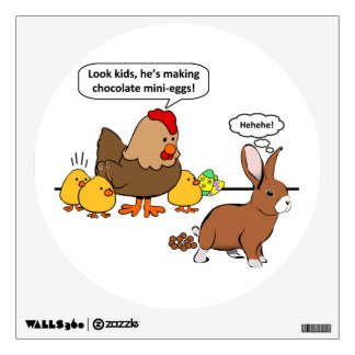 Bunny makes chocolate poop funny cartoon wall sticker
