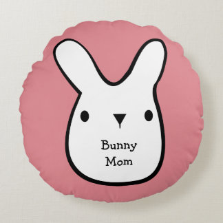 Bunny Mom (customizable) Round Pillow