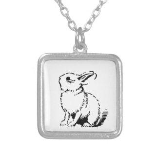 bunny square pendant necklace