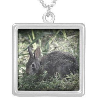 Bunny necklase square pendant necklace