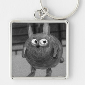 bunny noir Silver-Colored square keychain