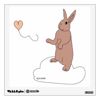 Bunny on a cloud with a heart balloon wall decal