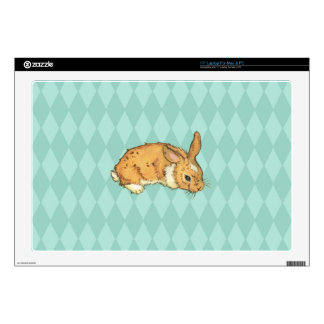 Bunny on blue diamond pattern laptop decals
