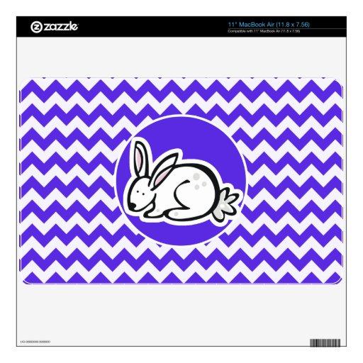 Bunny on Blue Violet Chevron MacBook Air Decals