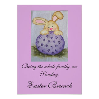 BUNNY ON EGG 4.5X6.25 PAPER INVITATION CARD