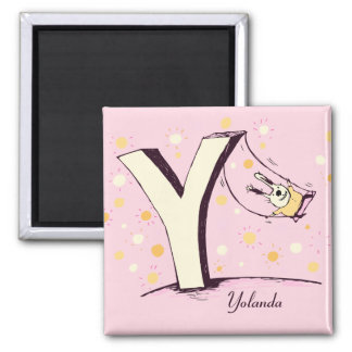 Bunny on Swing Letter Y Magnet