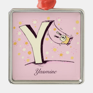 bunny on swing letter y ornament