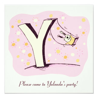 Bunny on Swing Letter Y Party Invite