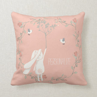 Bunny On The Breeze Floral Wreath Personalized Throw Pillow