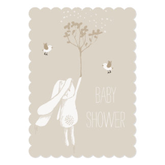 Bunny On The Breeze Gender Neutral Baby Shower Card
