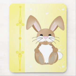 Bunny on Yellow Mouse Pad