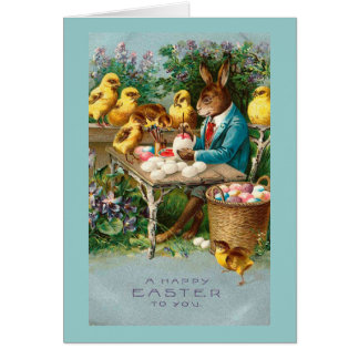 Bunny Painting Easter Eggs Cards