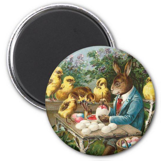 Bunny Painting Easter Eggs Vintage 2 Inch Round Magnet