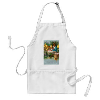 Bunny Painting Easter Eggs Vintage Adult Apron
