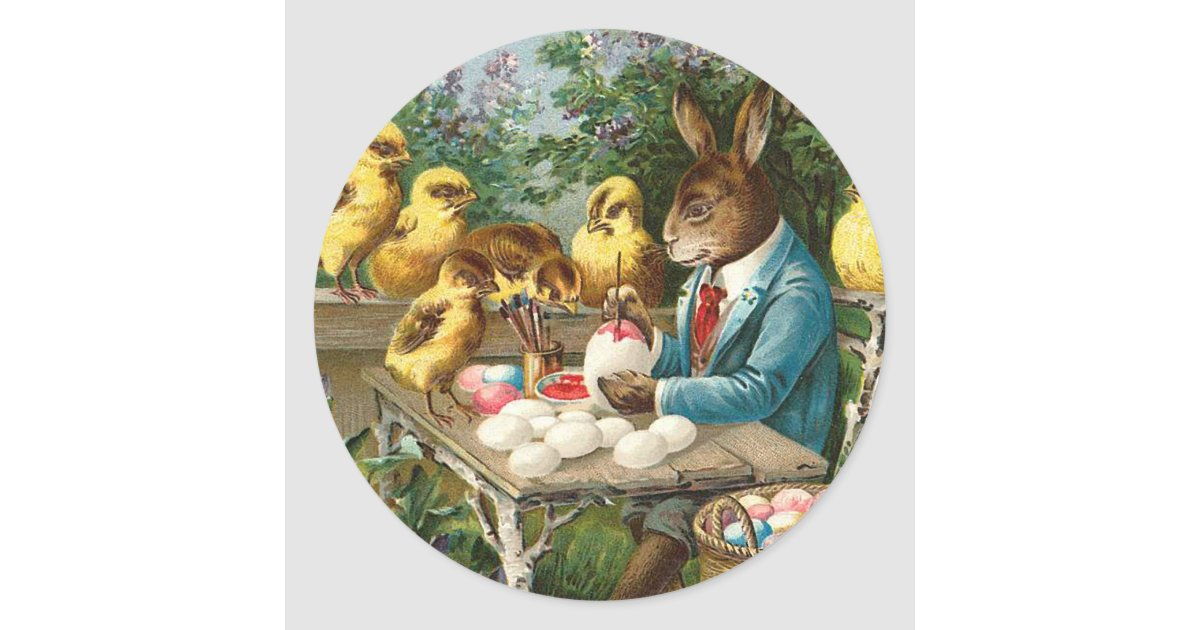 Bunny Painting Easter Eggs Vintage Classic Round Sticker