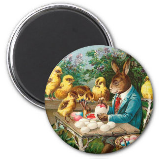 Bunny Painting Easter Eggs Vintage Magnet