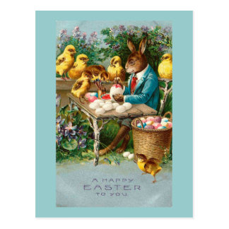 Bunny Painting Easter Eggs Vintage Postcard