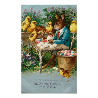 Bunny Painting Easter Eggs Vintage Poster