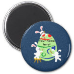 bunny painting egg fridge magnet