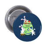 bunny painting egg pinback button