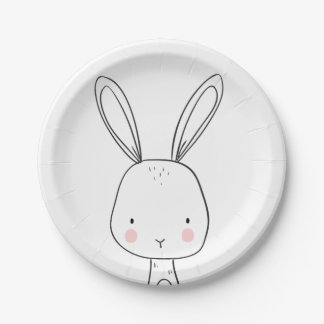 Bunny Paper Plates Baby shower Woodland animals