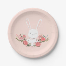 Bunny Paper Plates Baby shower Woodland Pink Girl