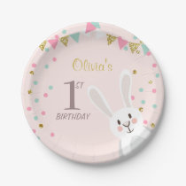 Bunny Paper Plates Birthday Spring Easter Pink